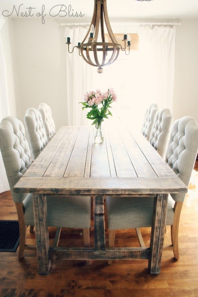 Rustic Dining Table With Tufted Wicker Emporium Dining Chairs – Nest With Rustic Dining Tables (View 16 of 25)