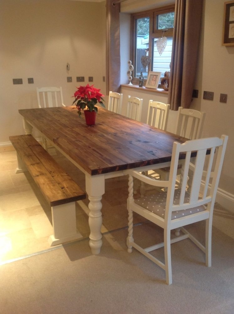 Rustic Farmhouse Shabby Chic Solid 10 Seater Dining Table Bench And Pertaining To Dining Table And 10 Chairs (Image 23 of 25)