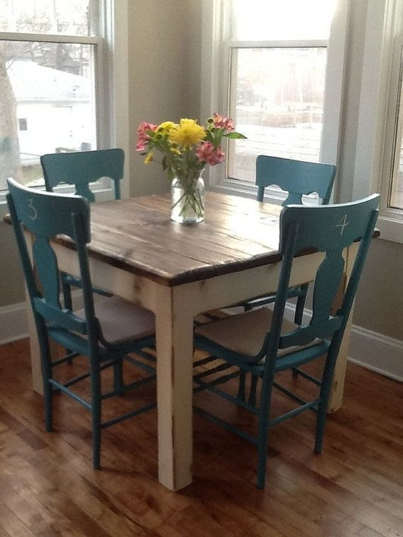 Rustic Farmhouse Table Small Kitchen Dining Farm House Reclaimed Regarding Dark Wood Square Dining Tables (View 12 of 25)