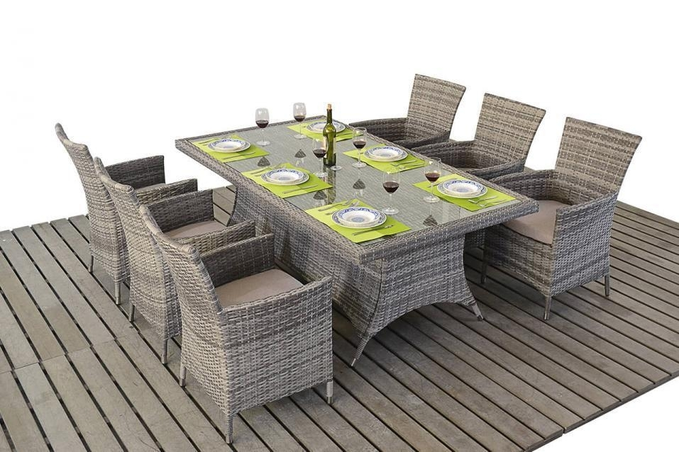 Rustic Grey Rattan Dining Table And Chairs – Homegenies Throughout Rattan Dining Tables And Chairs (Image 20 of 25)