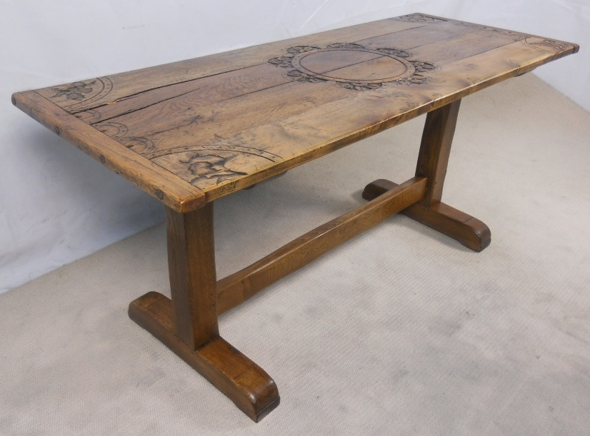Rustic Light Oak Refectory Dining Table – Sold Inside Rustic Oak Dining Tables (View 24 of 25)