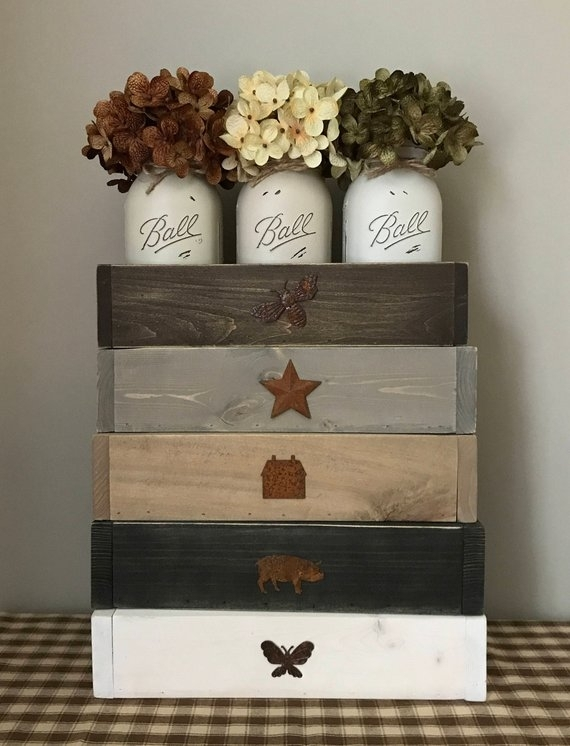 Rustic Mason Jar Centerpiece Farmhouse Table Decor Dining   Etsy With Regard To Bale Rustic Grey Dining Tables (Image 21 of 25)