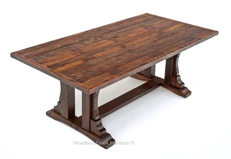 Rustic Oak Barn Wood Dining Table, Reclaimed Oak Table, Trestle In Rustic Oak Dining Tables (Image 19 of 25)