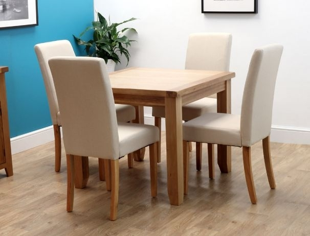 Rustic Oak Square Dining Table With 4 Chairs Inside 4 Seat Dining Tables (View 8 of 25)