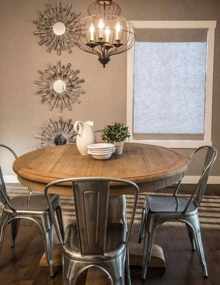 Rustic Round Dining Table Dining Room Rustic With Driftwood French Regarding Laurent 5 Piece Round Dining Sets With Wood Chairs (Image 20 of 25)