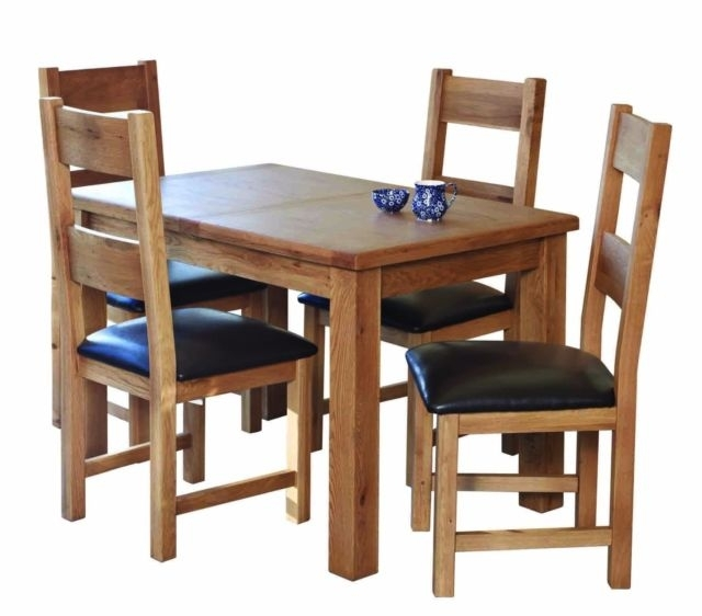 Rustic Solid Oak 3Ft X 3Ft 4 6 Seater Small Extending Dining Table 4 Within 3Ft Dining Tables (View 25 of 25)