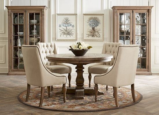 Rustic Yet Elegant, This Avondale #dining #room Speaks To In Caira Black 5 Piece Round Dining Sets With Diamond Back Side Chairs (View 2 of 25)