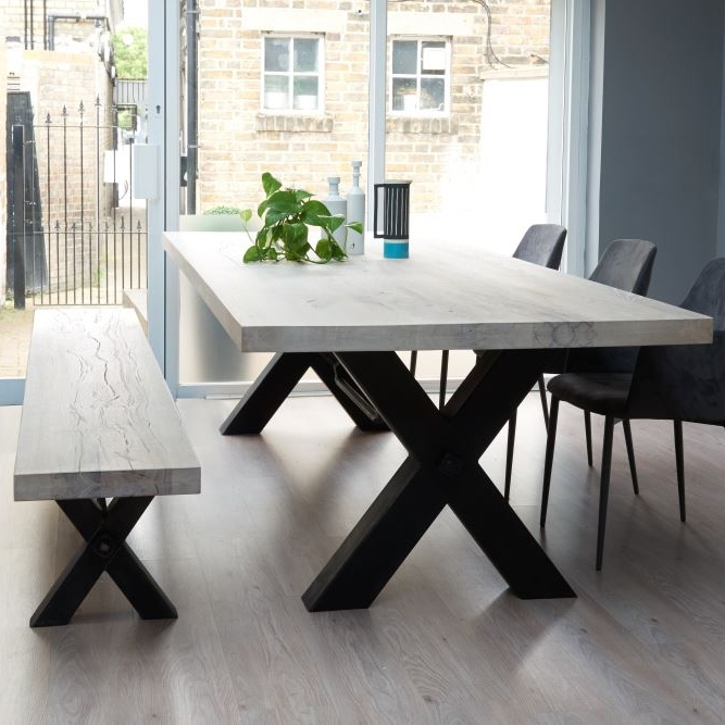 Rustik Industrial Wood Dining Table & Metal Legs Inside Iron And Wood Dining Tables (Image 18 of 25)