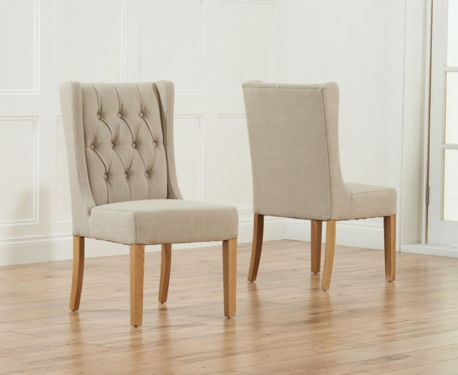 Safia Beige Fabric Oak Leg Dining Chairs | The Great Furniture Within Oak Fabric Dining Chairs (View 4 of 25)
