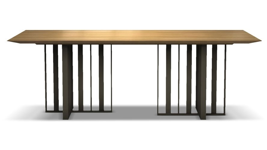 Saida 87 Inch Wood And Aluminum Dining Table, Natural Oak On Bronze For 87 Inch Dining Tables (Image 19 of 25)