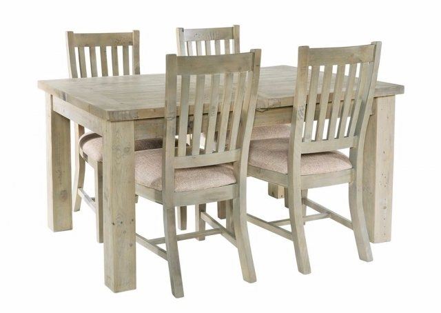 Salcombe Reclaimed Pine 140Cm Extendable Dining Table Set & 4 Chairs Pertaining To Extendable Dining Table And 4 Chairs (Image 18 of 25)