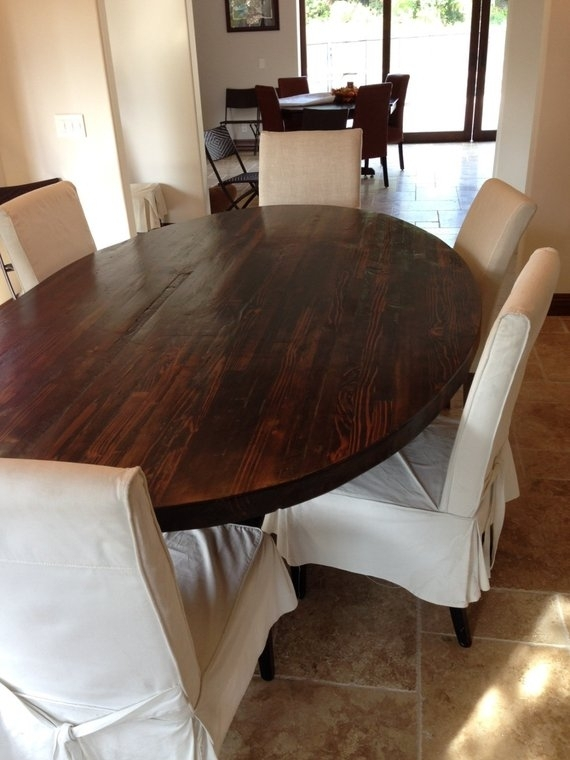 Sale! Butcher Block Strip Oval Wood Dining Table From Reclaimed Wood Pertaining To Oval Reclaimed Wood Dining Tables (Image 23 of 25)