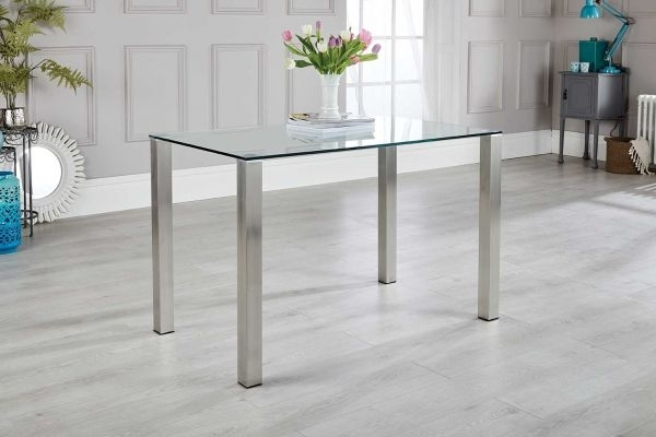 Salerno 4 Clear Glass And Brushed Stainless Steel Metal Dining Table Within Brushed Metal Dining Tables (Image 17 of 25)