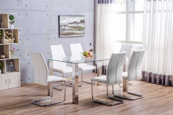 Salerno Clear Glass And Brushed Stainless Steel Metal Modern Stylish Pertaining To Clear Glass Dining Tables And Chairs (Image 25 of 25)