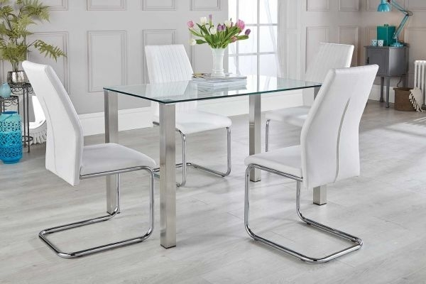 Salerno Dining Table & White Chairs Set – Free Delivery | Furniturebox Pertaining To Glass And Stainless Steel Dining Tables (View 3 of 25)