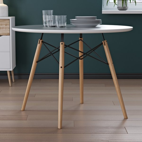 Salt Oak Dining Table | Wayfair In Caira Black 5 Piece Round Dining Sets With Diamond Back Side Chairs (View 17 of 25)