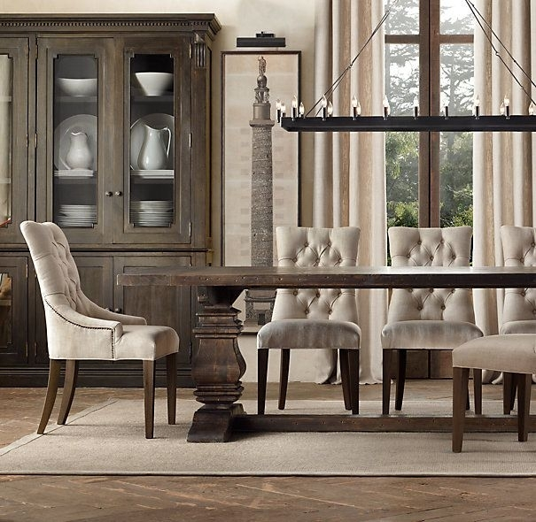 Salvaged Wood Trestle Rectangular Extension Dining Table, 108 In Extending Rectangular Dining Tables (View 5 of 25)