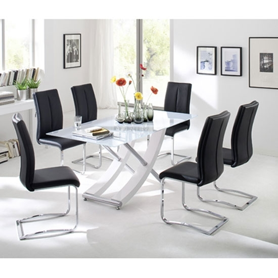 Samova Glass Dining Table In Gloss White With 6 Tavis With Regard To 6 Seater Glass Dining Table Sets (View 9 of 25)