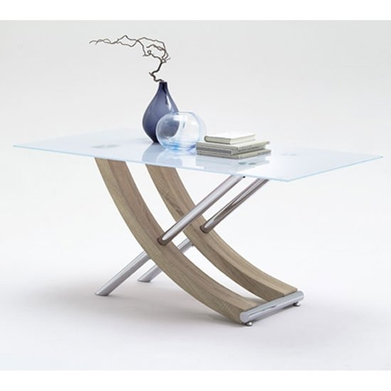 Samova Glass Dining Table In Rough Sawn Oak And Chrome Legs For Glass Dining Tables With Oak Legs (View 9 of 25)