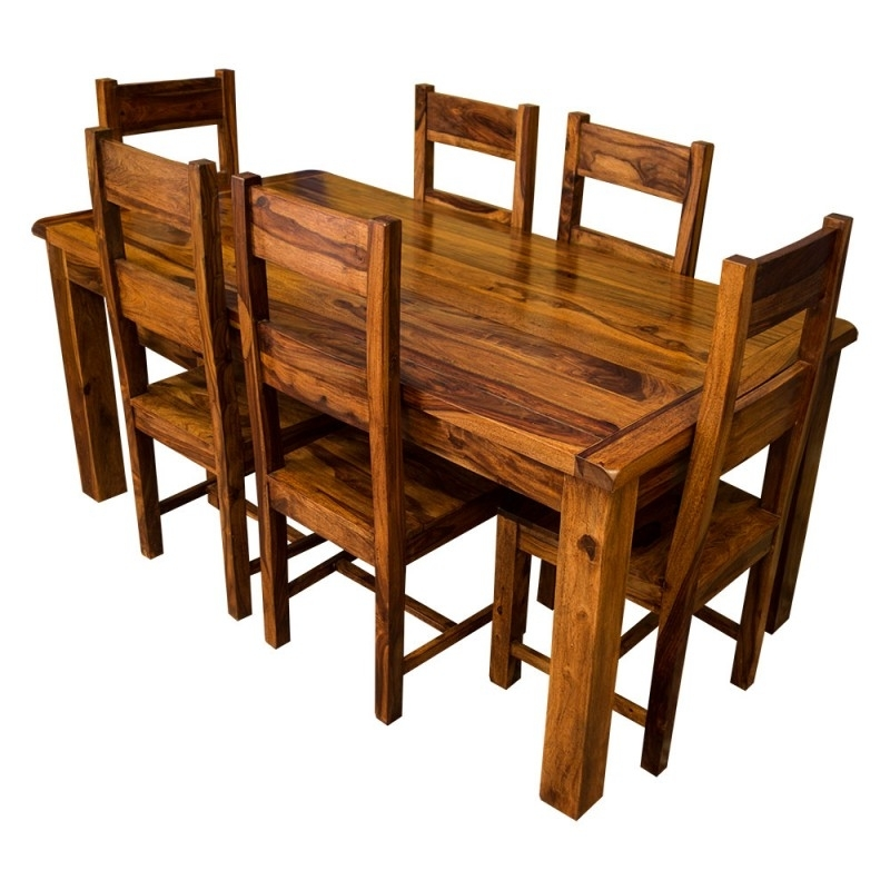 Samri Sheesham Dining Table & Six Chairs – Solid Sheesham Wood With Wooden Dining Tables And 6 Chairs (Image 22 of 25)