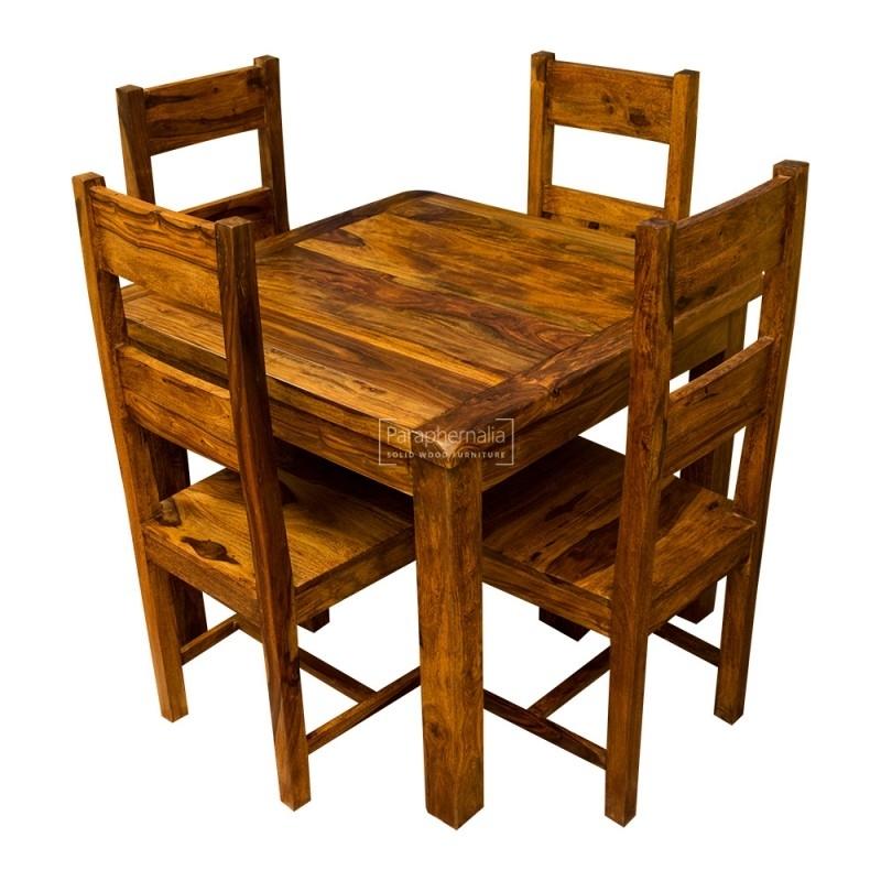Samri Sheesham Square Dining Table & Four Chairs – Solid Sheesham Regarding Sheesham Dining Chairs (Image 16 of 25)