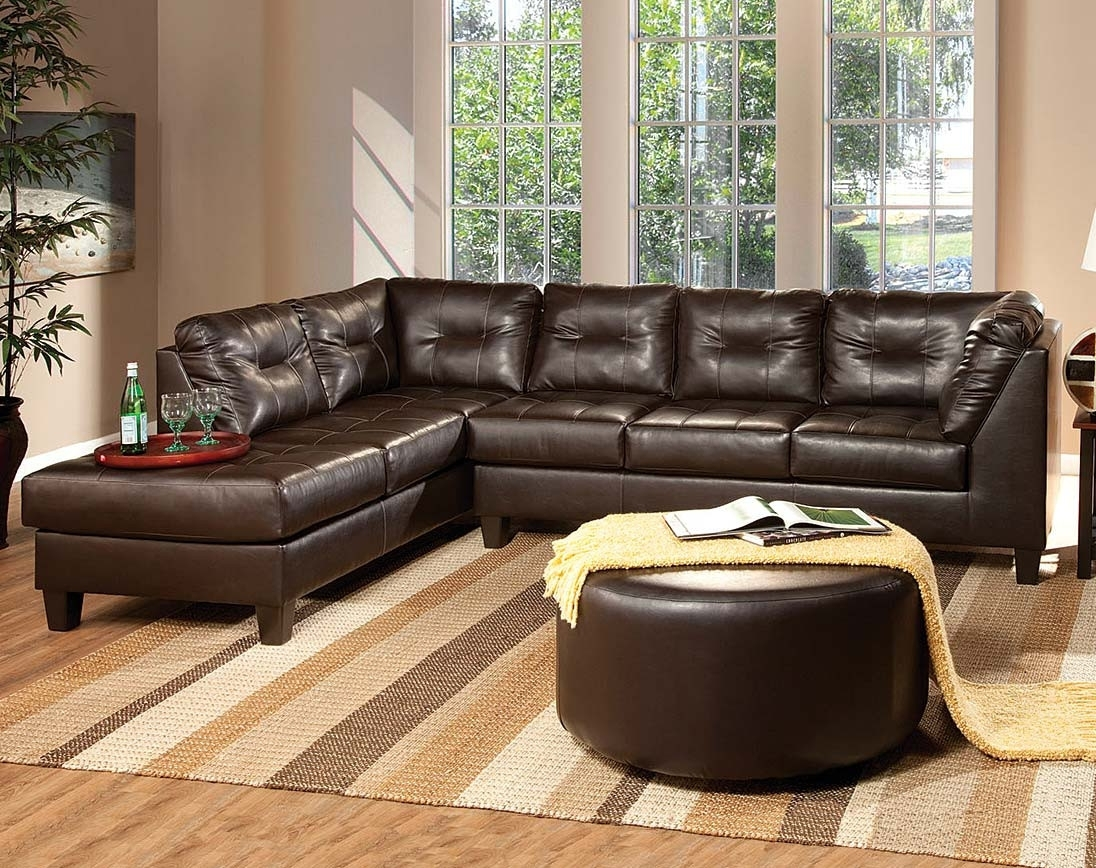 San Marino Chocolate Brown Sectional Sofa | American Freight With Norfolk Chocolate 3 Piece Sectionals With Laf Chaise (Image 22 of 25)
