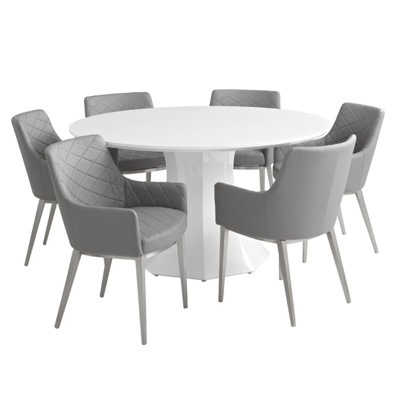 Sanara High Gloss White Round Dining Table | Buy Other Tables Intended For Round White Dining Tables (Image 20 of 25)