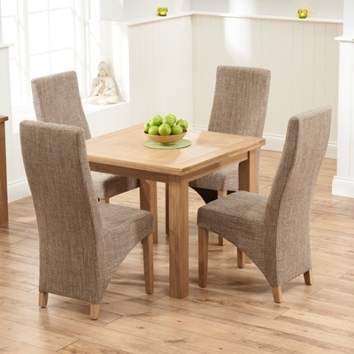 Sandiego Oak 90Cm Extending Dining Table With 4 Henry Tweed Chairs With Regard To Extending Dining Tables And 4 Chairs (View 5 of 25)