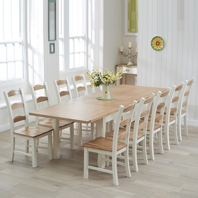Sandiego Oak And Cream 180Cm Extending Dining Table With 10 Chairs In Dining Table And 10 Chairs (Image 24 of 25)