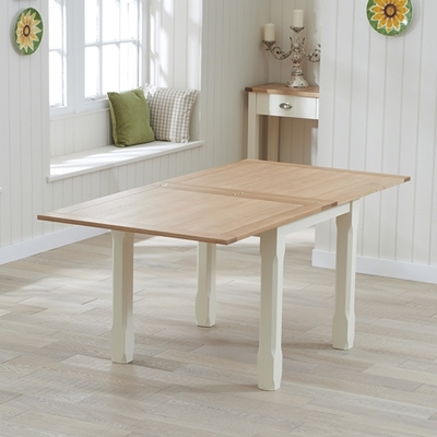 Sandiego Oak And Cream 90Cm Dining Table With 4 Chairs – Robson Intended For Cream And Oak Dining Tables (View 13 of 25)