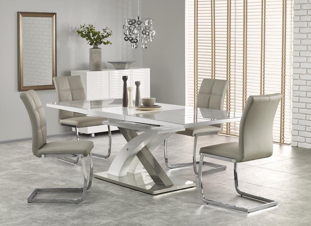 Sandor 2 160 220Cm Grey Glass & White High Gloss Modern Extendable In White Gloss Extendable Dining Tables (Image 18 of 25)