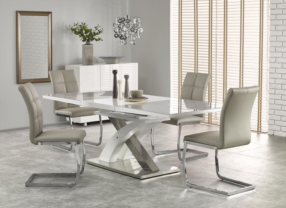 Sandor 2 160 220Cm Grey Glass & White High Gloss Modern Extendable With Regard To High Gloss Extending Dining Tables (View 5 of 25)