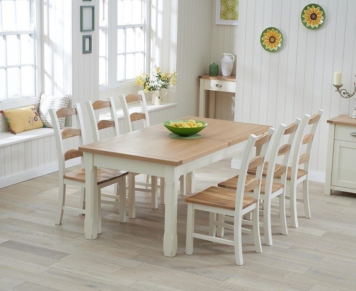 Sandringham 180Cm Oak & Cream Extending Dining Table – Swagger Inc Inside Cream And Oak Dining Tables (Image 22 of 25)