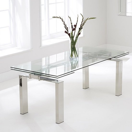 Sandro Glass Extendable Dining Table In Clear With Chrome regarding Glass Folding Dining Tables