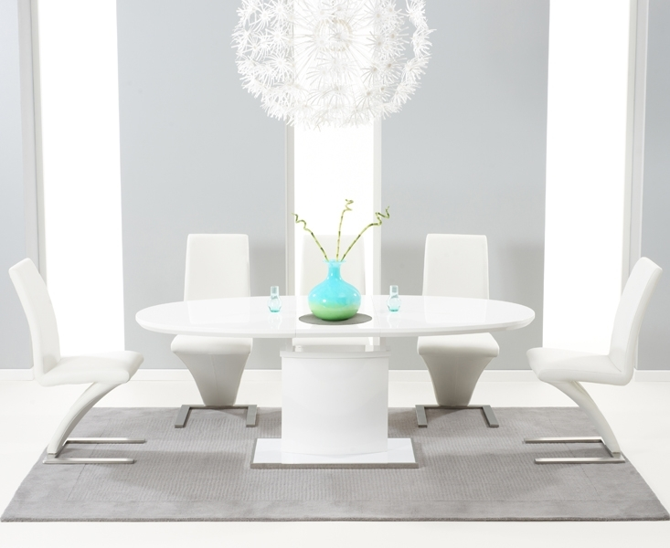 Santana 160Cm White High Gloss Extending Pedestal Dining Table With Throughout White High Gloss Dining Chairs (Image 21 of 25)