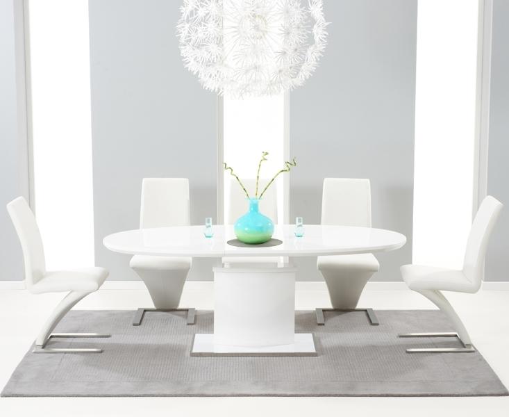 Santana 160Cm White High Gloss Extending Pedestal Dining Table With Within White High Gloss Dining Tables (Image 18 of 25)