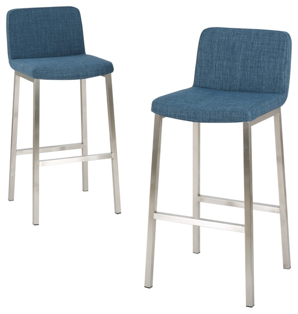 Santino Blue Fabric Bar Stools, Set Of 2 – Contemporary – Bar Stools Intended For Valencia 4 Piece Counter Sets With Bench & Counterstool (Image 17 of 25)