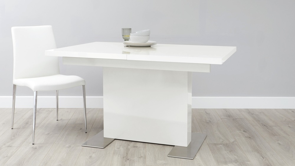 Sanza Small Extending White Gloss Dining Table | Uk Pertaining To White Gloss Dining Tables (Image 21 of 25)