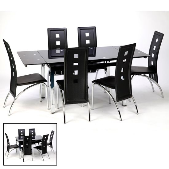 Sarah Extending Black Dining Table Set With 6 Bellini Chairs In Black Extendable Dining Tables Sets (Image 24 of 25)