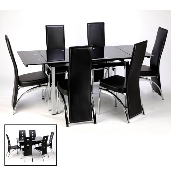 Sarah Extending Dining Table And Chairs In Black 15394 Throughout Extending Black Dining Tables (Image 23 of 25)