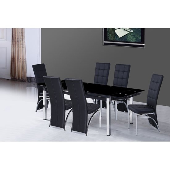 Sarah Extending Glass Dining Table With 6 Ravenna Dining Pertaining To Glass Extendable Dining Tables And 6 Chairs (View 2 of 25)