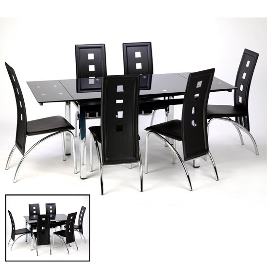 Sarah Glass Extendable Dining Table In Black With Chrome Intended For Black Extendable Dining Tables And Chairs (Image 22 of 25)