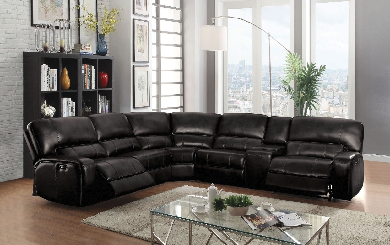 Saul Sectional Sofa With 3 Power Recliners, Black Leather Aire With Regard To Tess 2 Piece Power Reclining Sectionals With Laf Chaise (View 20 of 25)