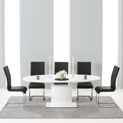 Savana High Gloss Extending Dining Table With 6 Milan Black Chairs With Regard To Black Gloss Extending Dining Tables (Image 17 of 25)