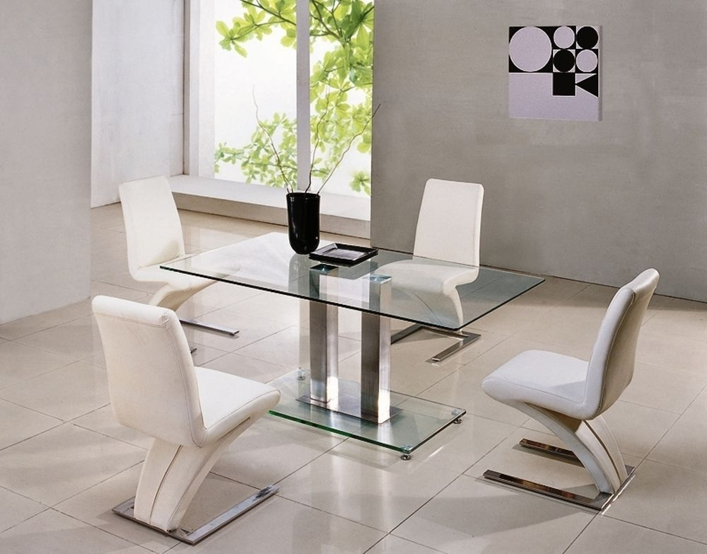 Savio Large Glass Chrome Dining Room Table & 4 Z Chairs Set  150 Cm For Glass And Chrome Dining Tables And Chairs (View 11 of 25)