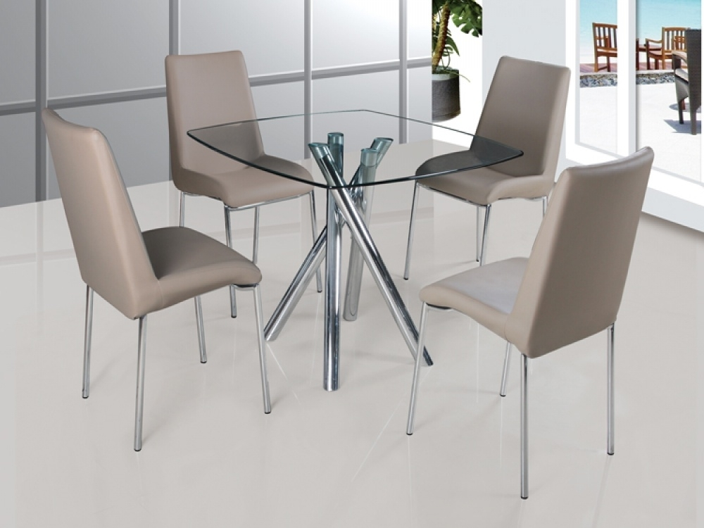Savio Small Glass Chrome Dining Room Table And 4 Chairs Royal Blue With Glass And Chrome Dining Tables And Chairs (Image 23 of 25)