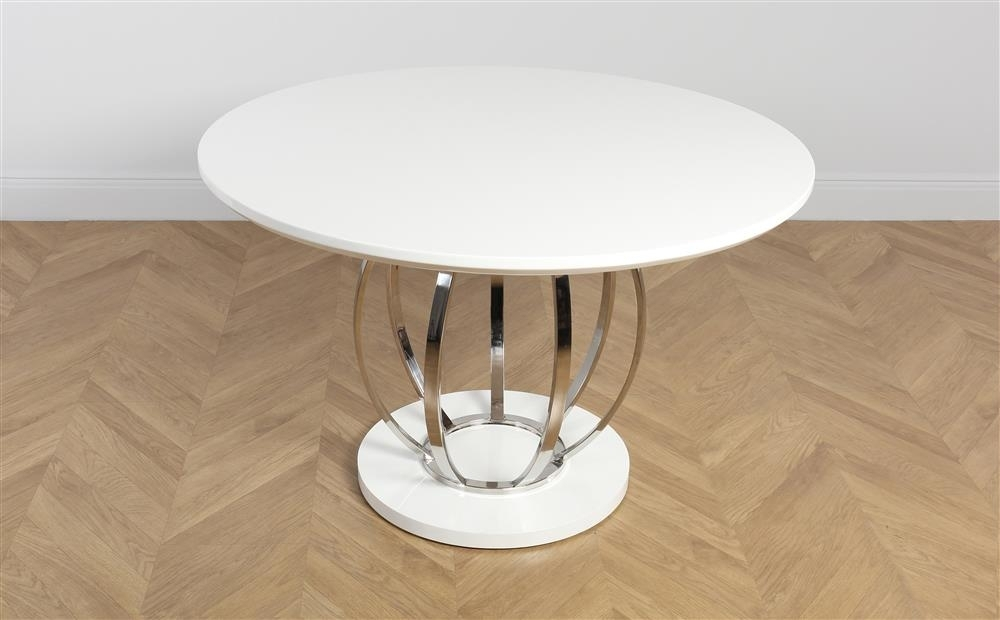 Savoy Round White High Gloss And Chrome Dining Table Only £ (Image 20 of 25)