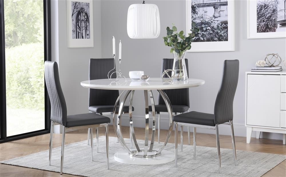 Savoy Round White High Gloss And Chrome Dining Table With 4 Leon In Leon Dining Tables (Image 23 of 25)