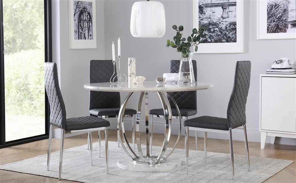 Savoy Round White Marble And Chrome Dining Table With 4 Renzo Grey With Regard To Chrome Dining Room Sets (Image 20 of 25)