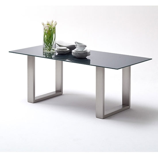 Sayona Glass Dining Table Wide In Grey With Steel Legs Regarding Grey Glass Dining Tables (Image 22 of 25)